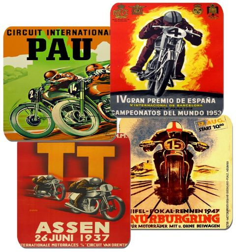 Motorcycle Grand Prix Vintage Poster Coasters Set Of 4. High Quality Cork. Bike